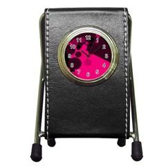 Pink Dots Pen Holder Desk Clocks by Valentinaart