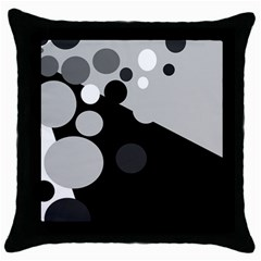 Gray Decorative Dots Throw Pillow Case (black) by Valentinaart