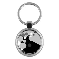 Gray Decorative Dots Key Chains (round)  by Valentinaart