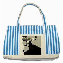 Gray Decorative Dots Striped Blue Tote Bag by Valentinaart