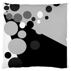 Gray decorative dots Large Flano Cushion Case (One Side) by Valentinaart