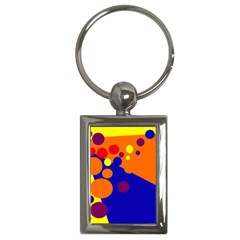 Blue And Orange Dots Key Chains (rectangle)  by Valentinaart