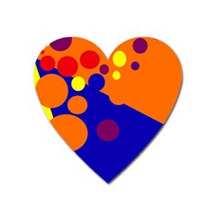 Blue And Orange Dots Heart Magnet by Valentinaart