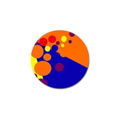 Blue And Orange Dots Golf Ball Marker by Valentinaart