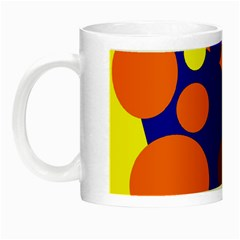 Blue And Orange Dots Night Luminous Mugs by Valentinaart