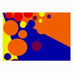 Blue And Orange Dots Large Glasses Cloth (2 Side) by Valentinaart