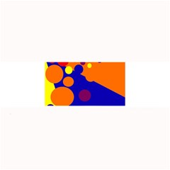 Blue And Orange Dots Large Bar Mats by Valentinaart