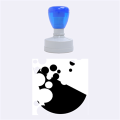 Blue And Orange Dots Rubber Round Stamps (medium)