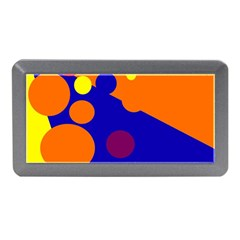 Blue And Orange Dots Memory Card Reader (mini) by Valentinaart