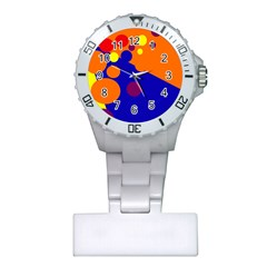 Blue And Orange Dots Plastic Nurses Watch by Valentinaart