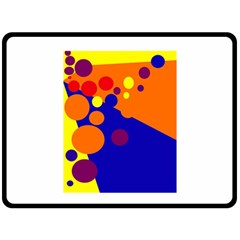 Blue And Orange Dots Double Sided Fleece Blanket (large)  by Valentinaart