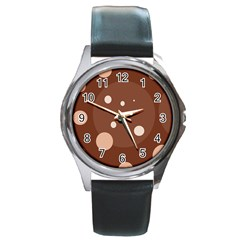 Brown Abstract Design Round Metal Watch by Valentinaart