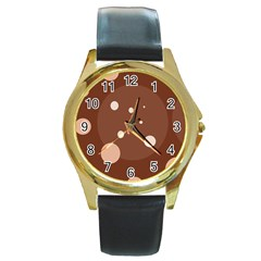 Brown Abstract Design Round Gold Metal Watch by Valentinaart