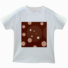 Brown Abstract Design Kids White T Shirts by Valentinaart