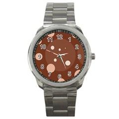 Brown Abstract Design Sport Metal Watch by Valentinaart