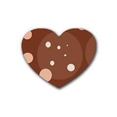 Brown Abstract Design Heart Coaster (4 Pack)  by Valentinaart