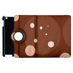 Brown Abstract Design Apple Ipad 3/4 Flip 360 Case by Valentinaart