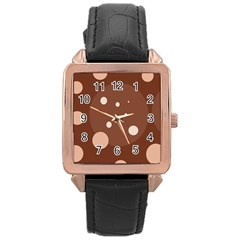 Brown Abstract Design Rose Gold Leather Watch  by Valentinaart