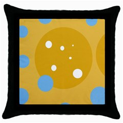 Blue And Yellow Moon Throw Pillow Case (black) by Valentinaart