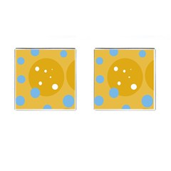 Blue And Yellow Moon Cufflinks (square) by Valentinaart