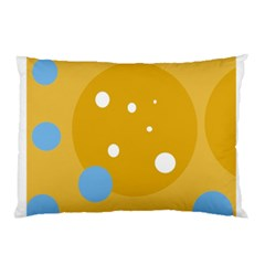 Blue And Yellow Moon Pillow Case by Valentinaart