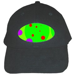 Green And Purple Dots Black Cap by Valentinaart