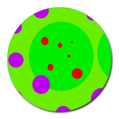 Green And Purple Dots Round Mousepads by Valentinaart