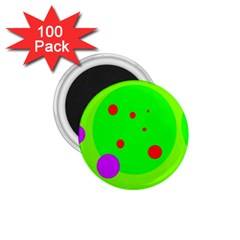 Green And Purple Dots 1 75  Magnets (100 Pack)  by Valentinaart