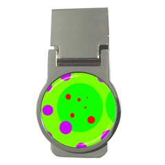 Green And Purple Dots Money Clips (round)  by Valentinaart