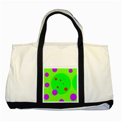 Green And Purple Dots Two Tone Tote Bag by Valentinaart