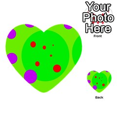 Green And Purple Dots Multi Purpose Cards (heart)  by Valentinaart