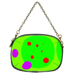 Green And Purple Dots Chain Purses (two Sides)  by Valentinaart