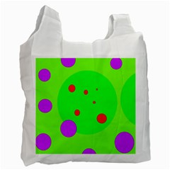 Green And Purple Dots Recycle Bag (one Side) by Valentinaart