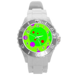 Green And Purple Dots Round Plastic Sport Watch (l) by Valentinaart