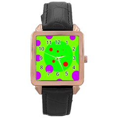 Green And Purple Dots Rose Gold Leather Watch  by Valentinaart