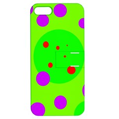 Green And Purple Dots Apple Iphone 5 Hardshell Case With Stand by Valentinaart