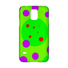 Green and purple dots Samsung Galaxy S5 Hardshell Case  by Valentinaart