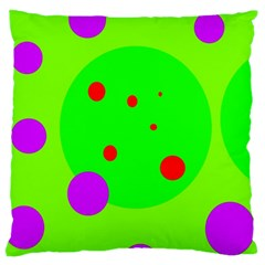 Green And Purple Dots Large Flano Cushion Case (two Sides) by Valentinaart