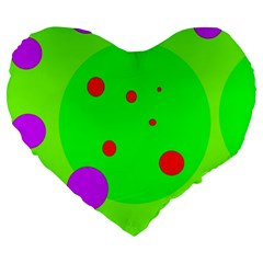 Green And Purple Dots Large 19  Premium Flano Heart Shape Cushions by Valentinaart