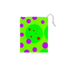 Green And Purple Dots Drawstring Pouches (xs)  by Valentinaart