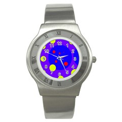 Purple And Yellow Dots Stainless Steel Watch by Valentinaart