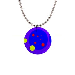 Purple And Yellow Dots Button Necklaces by Valentinaart