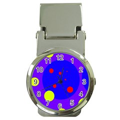Purple And Yellow Dots Money Clip Watches by Valentinaart