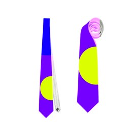 Purple And Yellow Dots Neckties (one Side)  by Valentinaart