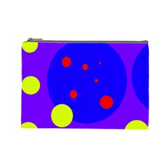 Purple And Yellow Dots Cosmetic Bag (large)  by Valentinaart