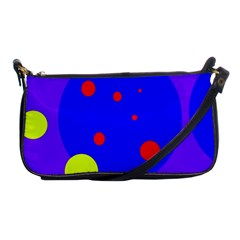 Purple And Yellow Dots Shoulder Clutch Bags by Valentinaart