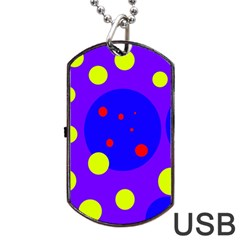 Purple And Yellow Dots Dog Tag Usb Flash (one Side) by Valentinaart