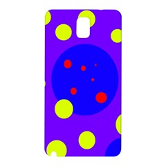 Purple And Yellow Dots Samsung Galaxy Note 3 N9005 Hardshell Back Case by Valentinaart
