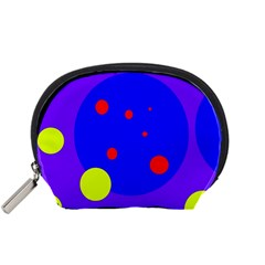 Purple And Yellow Dots Accessory Pouches (small)  by Valentinaart