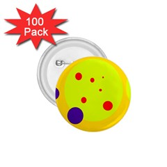 Yellow And Purple Dots 1 75  Buttons (100 Pack)  by Valentinaart
